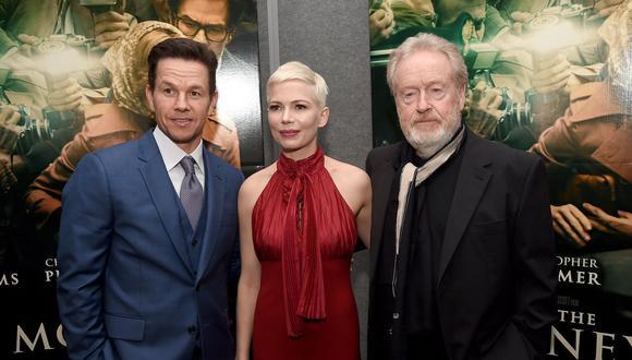 "Mark Wahlberg, Michelle Williams y Ridley Scott en premiere de ""All The Money in the World"". (Foto: Reuters)"
