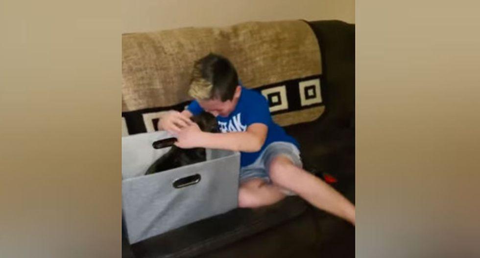 Segundos después de darse cuenta que era un perrito, el niño abrazó al animal. (YouTube: ViralHog)