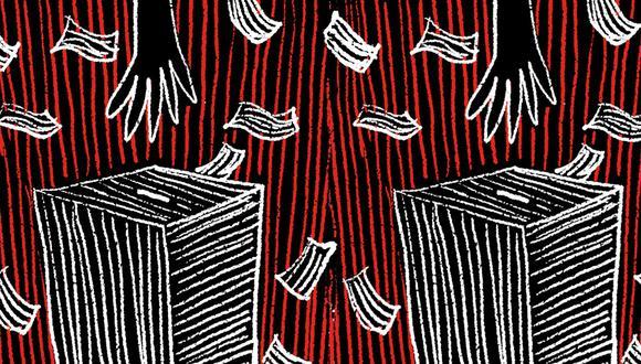 """""""Como dice Camus, todos creen tener la fórmula para hacer felices a los ciudadanos; sin embargo, la felicidad queda en nuestras propias manos a partir del 7 de junio"""". (Ilustración: Giovanni Tazza)"""