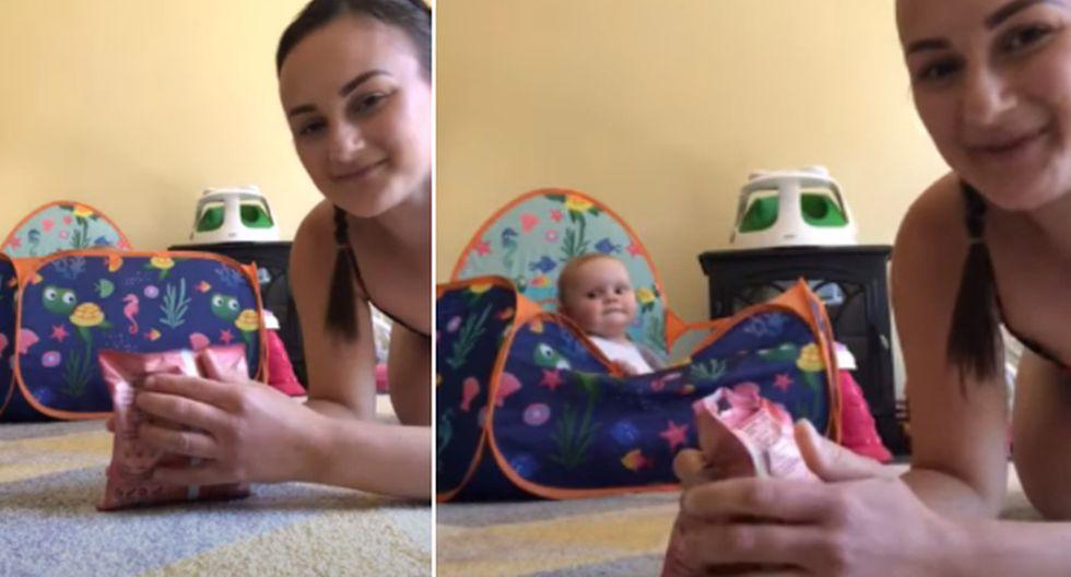 La bebé tuvo una conducta que generó ternura y risas en los usuarios. (YouTube: ViralHog)