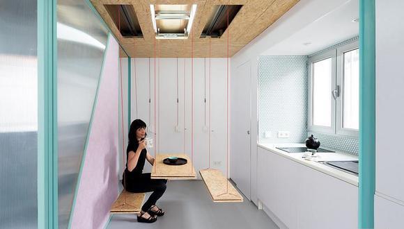 El departamento de Elii Architects combina poleas y compartimentos secretos para mejorar el uso del espacio. (Foto: Miguel de Guzmán / elii.es)