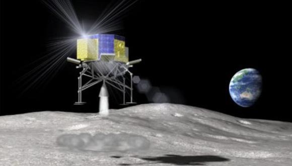 Representación artística de la sonda SLIM que aterriza en la superficie lunar. (Foto: JAXA)