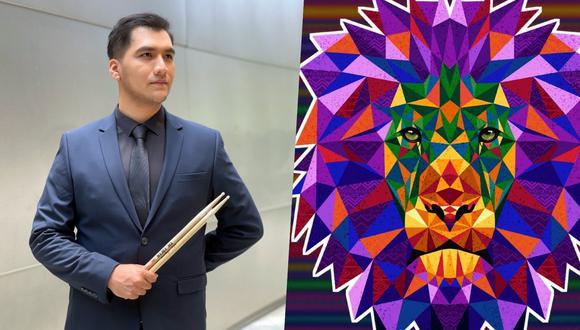 """El peruano Oscar Barcelli y la ilustración de su tema """"Raíz"""". Fotos: Cortesía."""