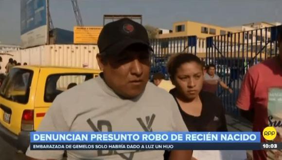 Los familiares de Mariela Guillermo Bautista fueron quienes denunciaron a los medios de comunicación la supuesta desaparición del recién nacido. (RPP Televisión)
