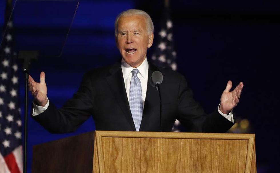 Joe Biden pronuncia su discurso como presidente electo de Estados Unidos. (EFE/EPA/JIM LO SCALZO).