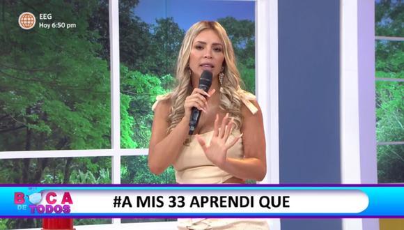 """Sheyla Rojas se presentó en el programa """"En boca de todos"""" tras ser retirada de """"Estás en todas"""". (Foto: Captura América TV)"""
