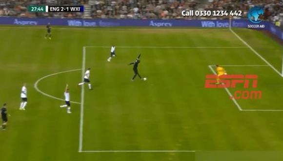 El hombre más rápido del mundo, Usain Bolt, anotó un gol en un encuentro benéfico entre Soccer Aid World XI y el England Aid. Sin embargo, el juez de línea anuló el tanto por un fuera de juego del jamaiquino. (Foto: captura de pantalla)