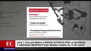 Lima y Callao volverán a cuarentena los domingos 25 de abril, 2 y 9 de mayo