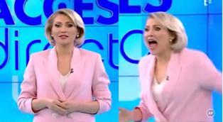 Mujer desnuda ataca con una piedra a periodista en vivo