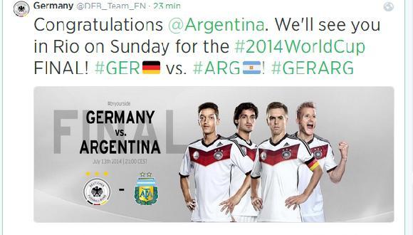 Selección alemana felicitó por Twitter a su rival: Argentina