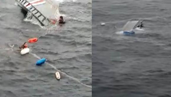 La embarcación de los oficiales fue rescatada a tiempo, mientras que los narcotraficantes probablemente hayan muerto a causa del mal tiempo.| Foto: Ministerio de Seguridad Pública/Facebook