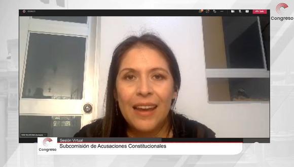 Yeni Vilcatoma participó de manera virtual en sesión de la Subcomisión de Acusaciones Constitucionales para denunciar a expresidente Vizcarra | Foto: Captura de Congreso TV