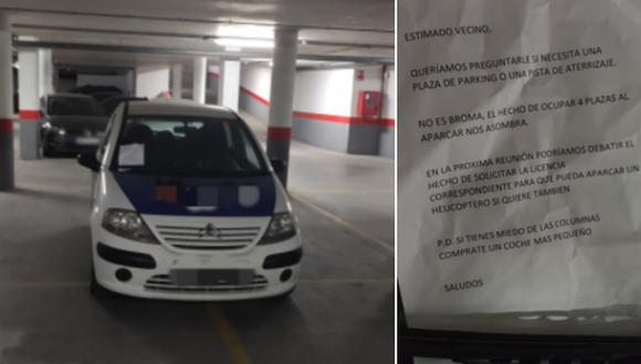 La singular nota que alguien le dejó a un conductor por estacionar mal su auto. (Foto: @josuherrero_ / Twitter)