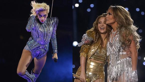 Lady Gaga en el SuperBowl de 2017 (izquierda) Shakira y JLo en el show de este año (derecha).