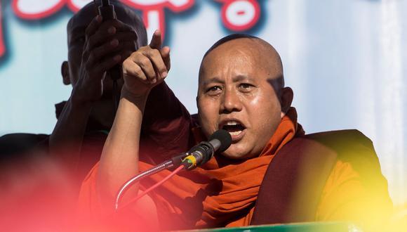 Ashin Wirathu es uno de los monjes budistas que está a favor de los militares golpistas de Myanmar. También ha declarado que, de ser necesario, tomaría las armas. (Foto: AFP).