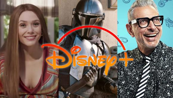 "De izquierda a derecha imágenes de ""Wandavision"", ""The Mandalorian"" y ""The World According to Jeff Goldblum""; series originales de la plataforma. Fotos: Disney+/ Nat Geo."