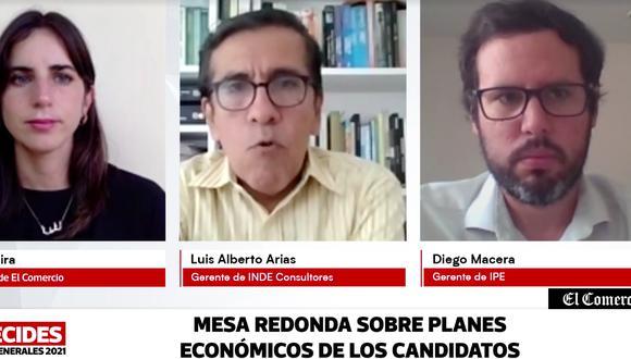 El Comercio organizó una mesa redonda para analizar los planes de gobierno en materia económica. Participaron Luis Alberto Arias y Diego Macera.