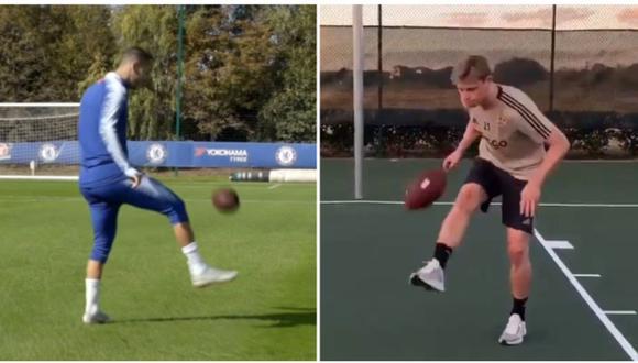Eden Hazard y Frenkie de Jong se hicieron tendencias por los videos que subieron dominando el ovoide de la NFL. | Foto: Captura