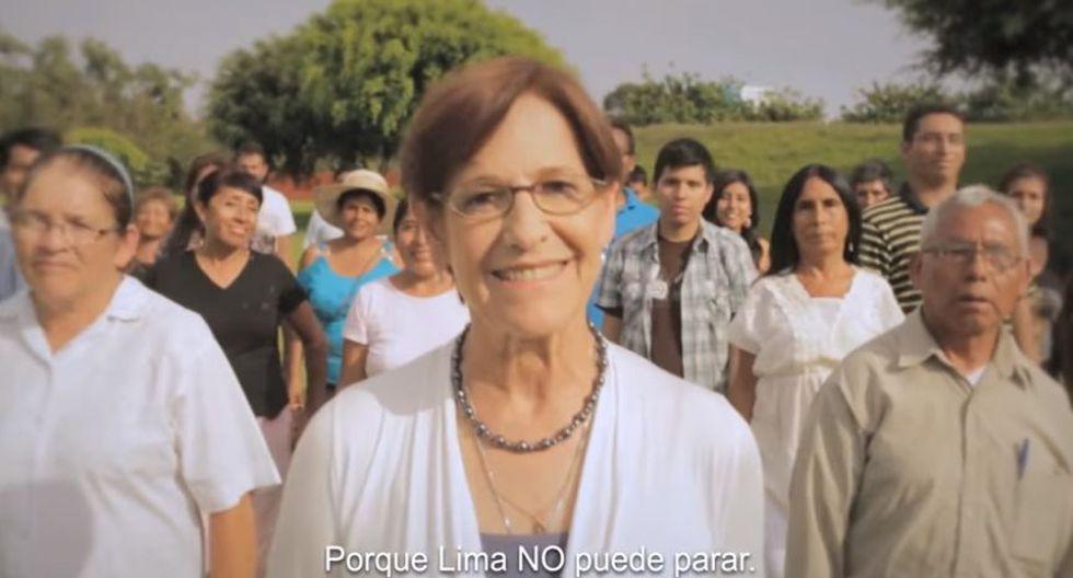 """Susana Villarán en spot televisivo de la campaña publicitaria del No en el 2013. """"Lima no puede parar"""", decía. [Captura de YouTube]"""