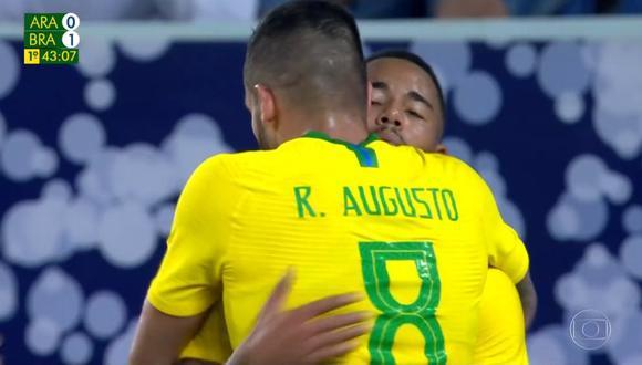 Gabriel Jesus se encargó de estrenar el score entre Brasil y Arabia Saudita, por un amistoso internacional realizado en el King Saud. (Foto: captura de video)