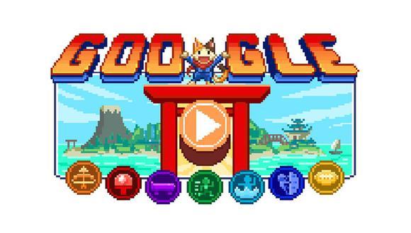 Doodle de Juegos Olímpicos de Tokio 2020, se trata de un juego RPG protagonizado por Lucky, una intrépida y dulce gata. (Imagen: Google)