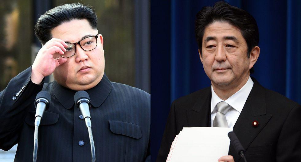Kim Jong-un, líder de Corea del Norte, y el primer ministro de Japón Shinzo Abe. (Foto: AFP).