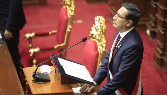 Martín Vizcarra se dirigió al país en lo que fue su último mensaje a la Nación oficial por 28 de julio. (Foto: GEC)