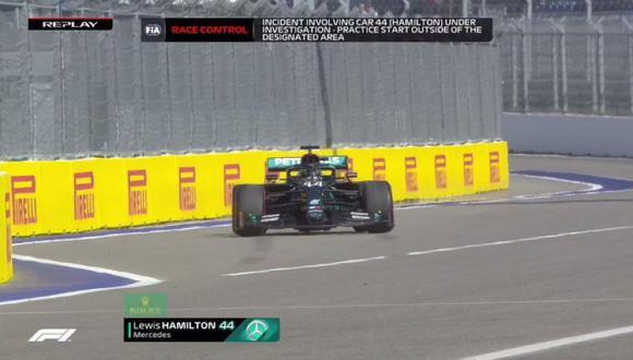 Hamilton recibió una doble penalidad en el GP de Rusia. (Foto: Captura ESPN)