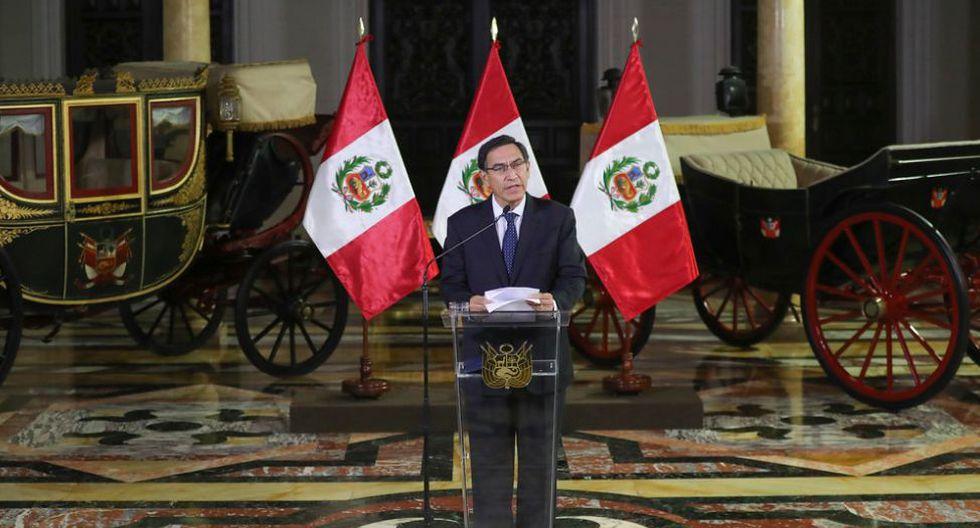 Martín Vizcarra dio un mensaje para anunciar la disolución del Congreso este lunes. (Foto: Presidencia de la República)