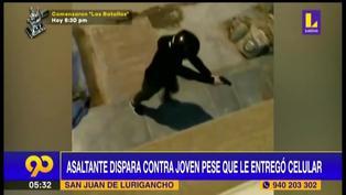 SJL: Delincuente dispara a su víctima pese a que le entregó celular