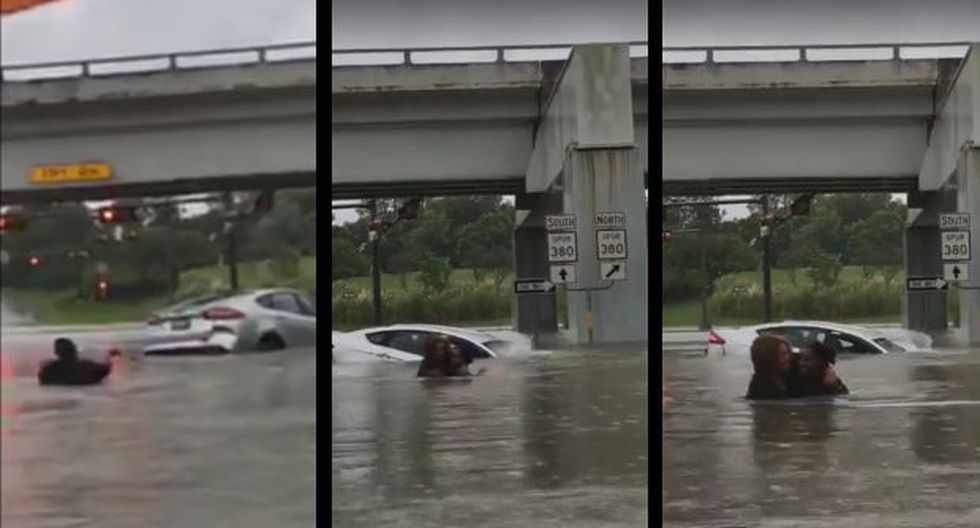 La valerosa acción se agrandó cuando el automóvil se hundió por completo a penas dos minutos después que la atrapada pudo salir del vehículo. (Foto: Facebook)