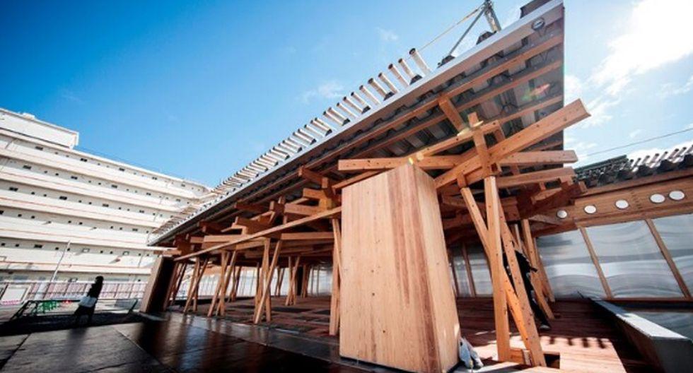 La plaza de la Villa Olímpica es un complejo realizado con madera reciclable y técnicas tradicionales japonesas de construcción. (Foto: Agencias)