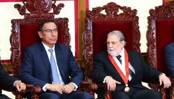 Martín Vizcarra coincidió con Pedro Olaechea en juramentación de Marianella Ledesma (Foto: Hugo Curotto)