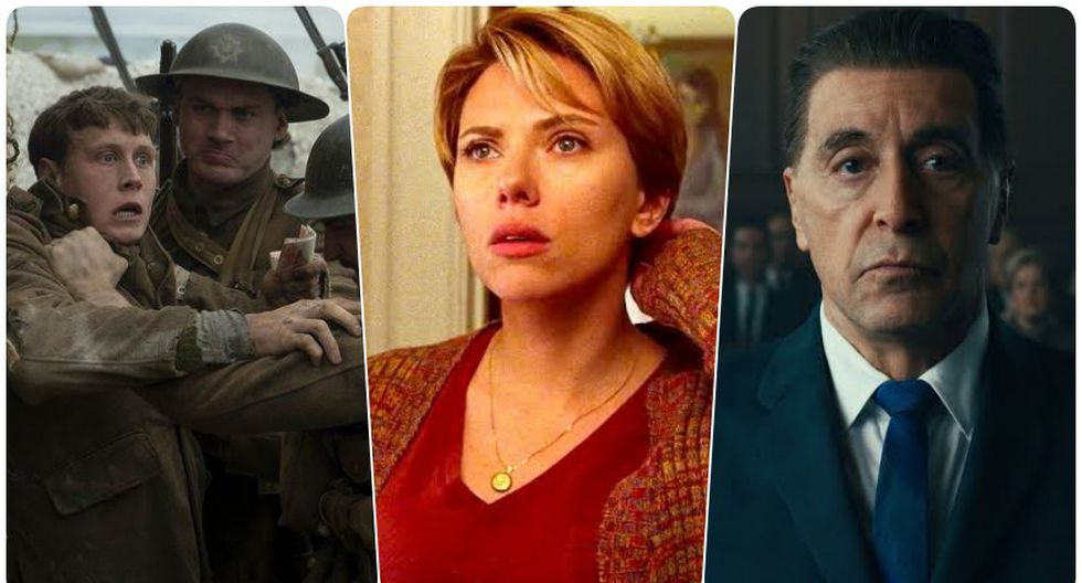 """De izquierda a derecha """"1917"""", """"Marriage Story"""" y """"The IRishman""""; nominadas al Oscar a Mejor película. Fotos: Difusión."""