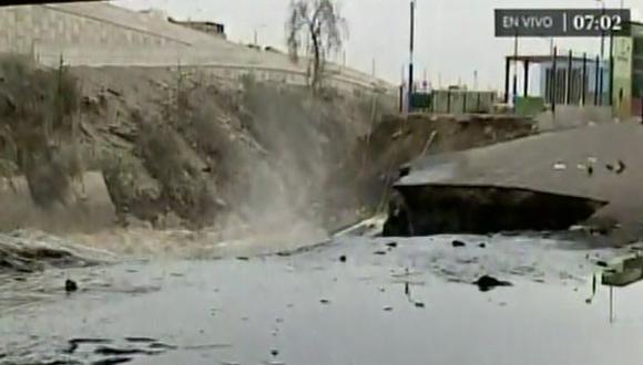 Río Rímac destruye pista y polideportivo cerca de Puente Dueñas