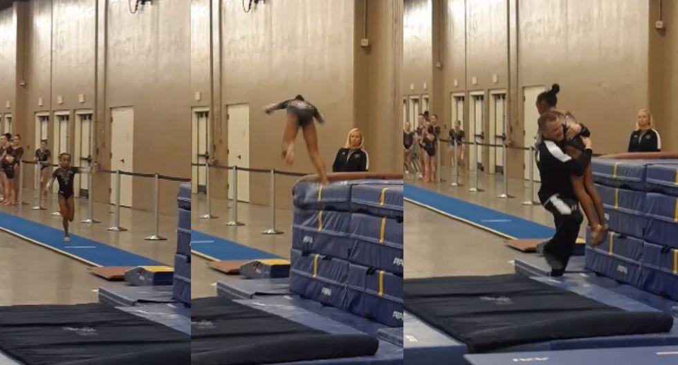 El entrenador llegó en el preciso momento para evitar que la niña se lastimara gravemente (Foto: Captura de video)