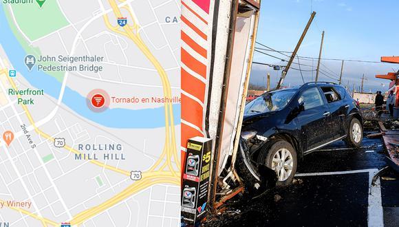Conoce la ruta EN VIVO del tornado en Nashville gracias a Google Maps. (Foto: EFE)