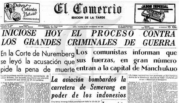 Así informó El Comercio el inicio de los juicios de Núremberg.