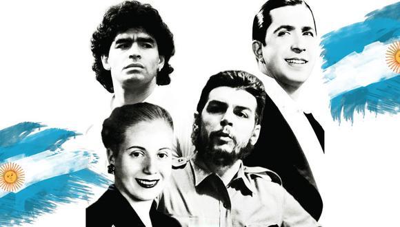 """De Diego Maradona a Eva Perón: las figuras que Argentina ha idealizado en el tiempo. (Fotocomposición: fragmento de la portada del libro """"Comediantes y mártires"""")"""