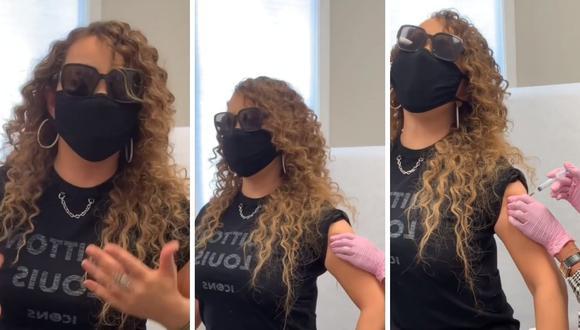 Mariah Carey grabó el preciso instante que recibió la primera dosis de la vacuna contra el coronavirus. (Foto: Instagram / @mariahcarey).