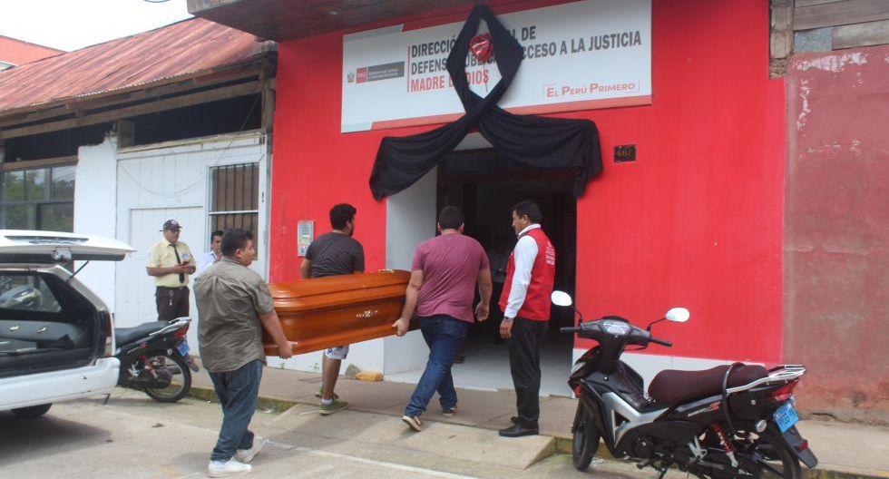 El cuerpo fue llevado a la oficina de la defensa pública del Ministerio de Justicia. (Manuel Calloquispe)