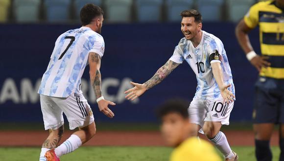 Lionel Messi marcó un tanto y fue autor de dos habilitaciones de gol en el triunfo de Argentina por 3-0 ante Ecuador. (Foto: AFP)