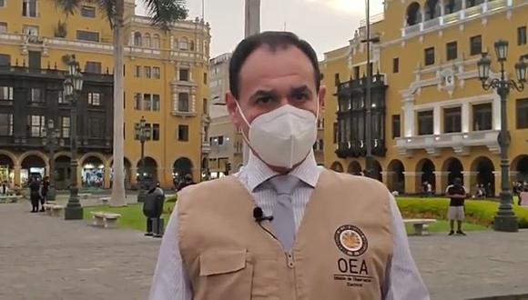 Rubén Ramírez, de la misión de observadores de la OEA, pidió esperar con paciencia resultados de la ONPE. (Twitter)