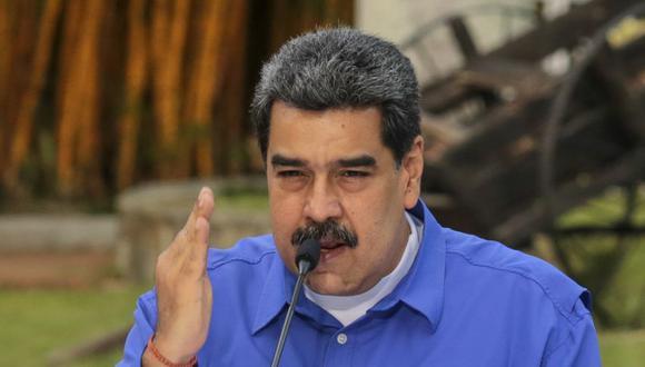 Nicolás Maduro, durante un mensaje televisado, en el Palacio Presidencial de Miraflores en Caracas. (Foto: Marcelo García / Presidencia venezolana / AFP).