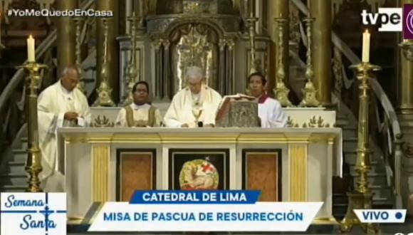 La tradicional misa de Pascua de Resurección se realizó en la Catedral de Lima a puerta cerrada debido al estado de emergencia nacional. (Foto captura)