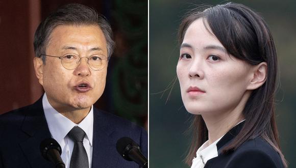 el presidente de Corea del Sur, Moon Jae-in, y kim Yo-jong. (JEON HEON-KYUN / JORGE SILVA / AFP).