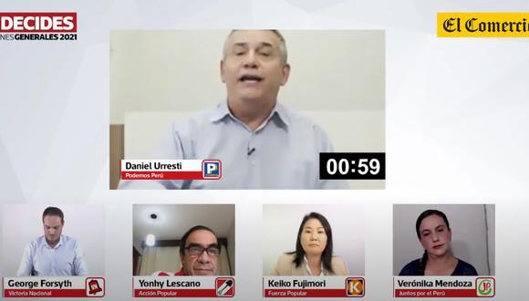 Daniel Urresti en Debate El Comercio. (Foto: Captura)