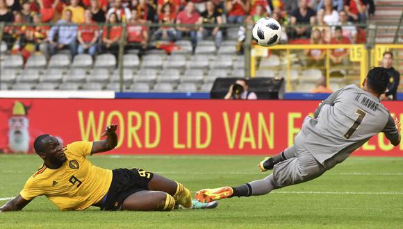 Costa Rica vs. Bélgica: Navas realizó descomunal atajada ante disparo de Lukaku. (Foto: AFP)