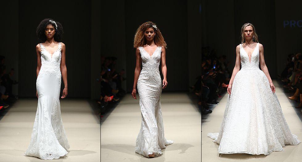 El encaje, satén y las transparencias rigieron la configuración de los trajes de novia propuestos por la empresa española Pronovias. (Foto: Alessandro Currarino)