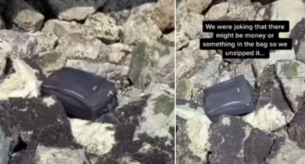 Los jóvenes encontraron una maleta entre las rocas sin imaginar que en su interior había partes de un muerto. (TikTok: @natthecvt)